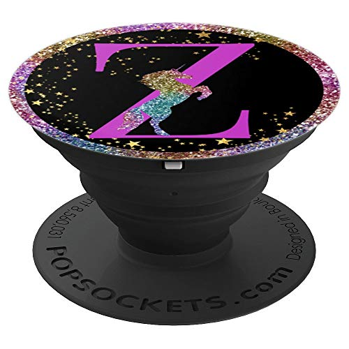 Purple Letter Z Unicorn Galaxy Rainbow Colors - PopSockets Grip and Stand for Phones and Tablets
