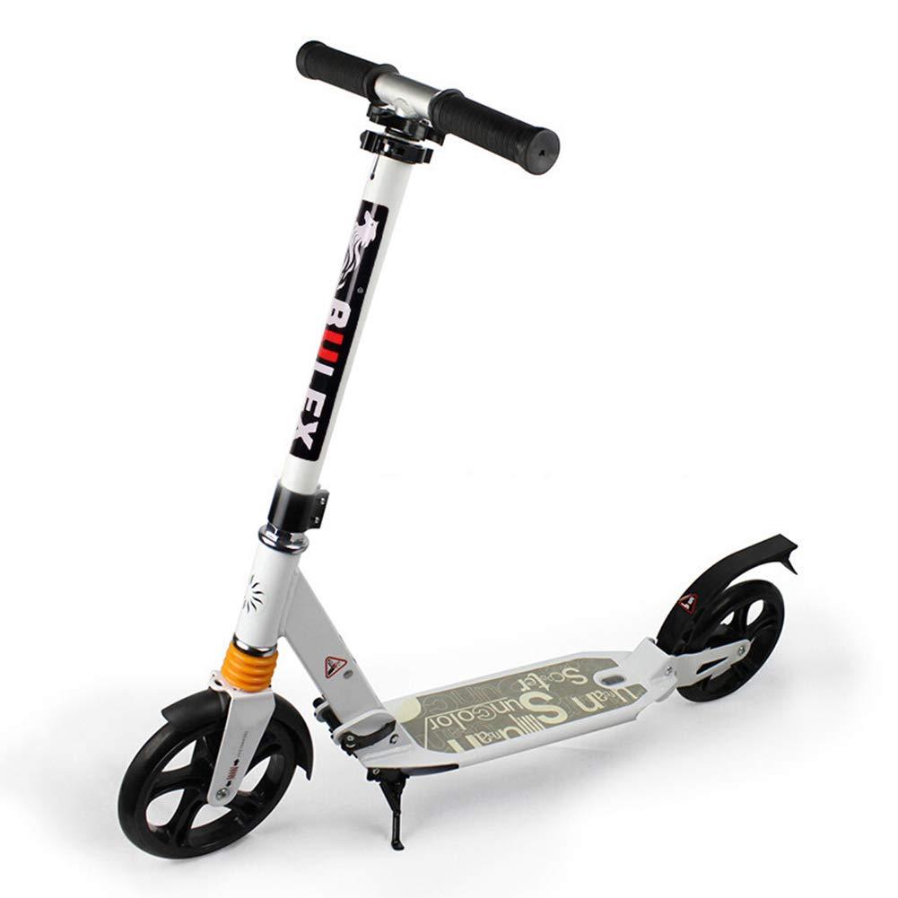 キックスクーター 男女兼用の大人の蹴りのスクーター、大きい車輪が付いているFoldable通勤のスクーター、女性/男性/ 10代/子供のための誕生日プレゼント、最大100kg、非電気 (色 : 黒) B07MXR4Q7X 白 白
