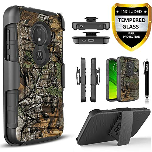 Moto G7 Power Case, Moto G7 Supra Case, with [Tempered Glass Screen Protector] Heavy Duty Drop Protection [Combo Holster] Rugged Belt Clip Phone Cover with Built-in Kickstand and Stylus Pen-Camo