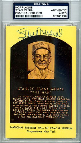 Stan Musial Signed HOF Plaque Postcard - Certified Genuine Autograph By PSA/DNA (Musial Merchandise Stan)