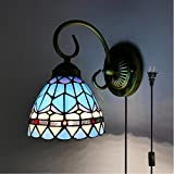 Kiven Tiffany wall lamp E26 1-Light Plug-In bulb not included Wall Sconce glass Shade 6 Foot Black Cord(BD0516)