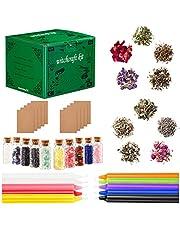WINOMO 1 zestaw Witchcraft Supplies Box wikański zaklęcia kryształy suszone kolorowe świece doświadczone czarownice zaklęcie pogańskie uniwersalne narzędzia dla początkujących prezenty
