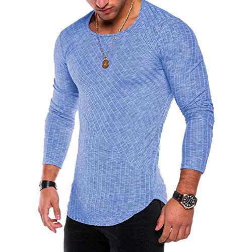 2019 Fashion Spring Thin Pullover Men Leisure Solid Color Sweater,Blue,L