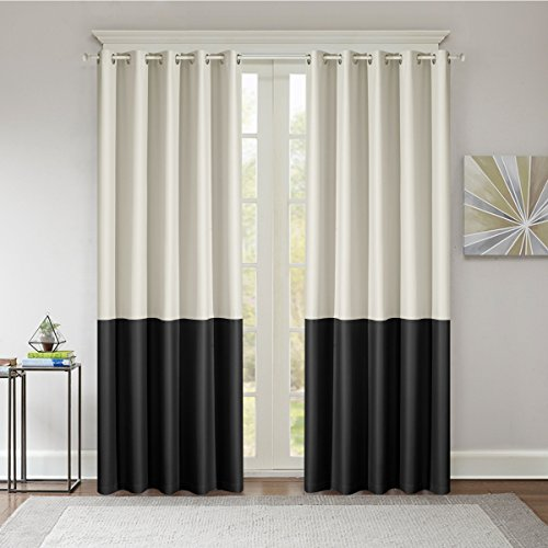 Dreaming Case Stitching Style Two Tone Curtains Light Blocking Drapes Color Block Curtains 52