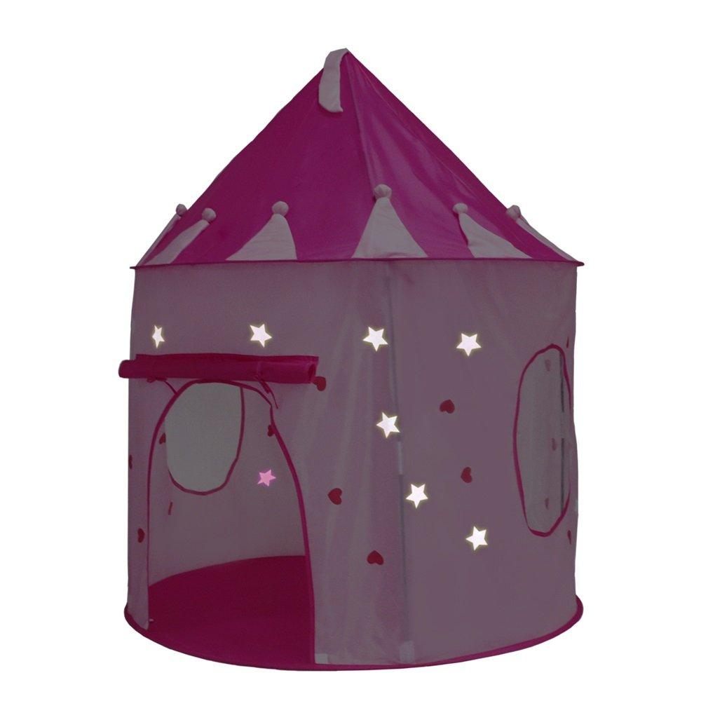 Dig 犬用骨 プリンセス お城 プレイテント (ピンク) 暗闇で光る星 屋内/屋外 女の子用プレイハウス 持ち運びケース付き 旅行や収納が簡単 B07DVZVXWT