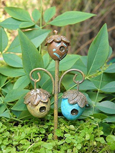 Fairy Garden Figurine Miniature Dollhouse FAIRY GARDEN ~ Woodland Acorn Birdhouse Stake Pick Trimiurti (Acorn Birdhouse)