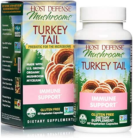 Host Defense, Turkey Tail Capsules, Natural Immune System and Digestive Support, Daily Mushroom Mycelium Supplement, USDA Organic, Gluten Free, 60 Vegetarian Capsules (30 Servings)