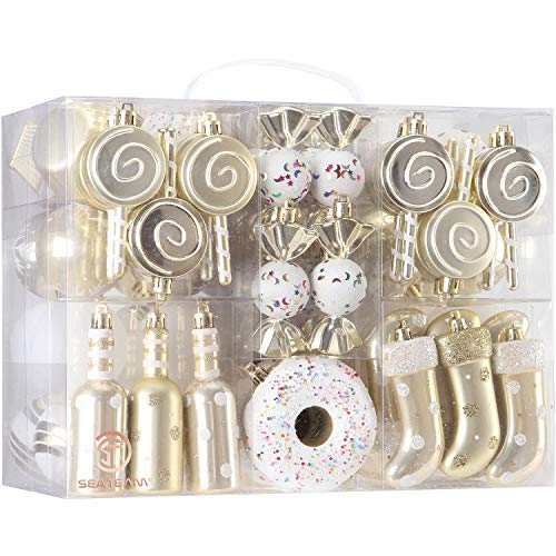 Sea Team 80-Pack Assorted Shatterproof Christmas Ball Ornaments Set Decorative Baubles Pendants with Reusable Hand-held Gift Package for Xmas Tree (Gold) (Tree Elegant Christmas)
