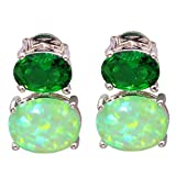 CiNily Created Green Fire Opal Green Quartz for Women Jewelry Gemstone Silver Plated Stud Earrings 12mm