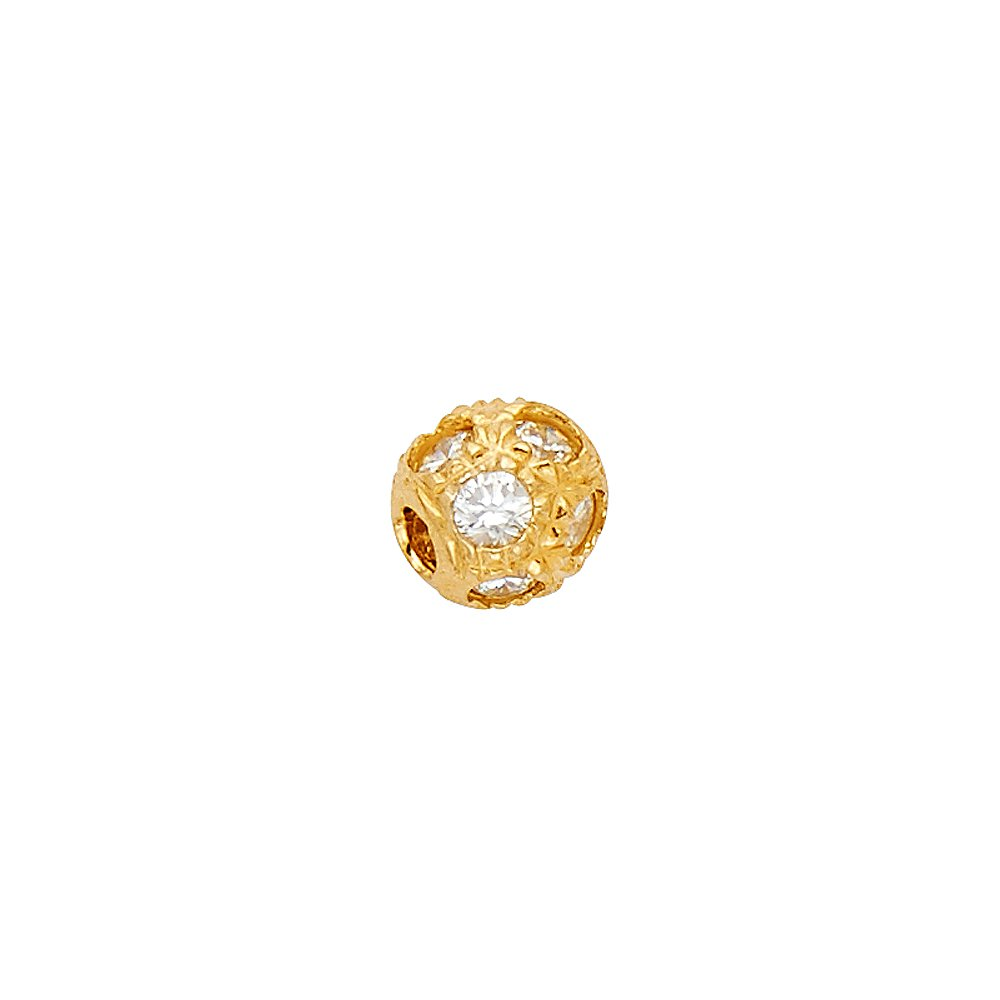 Million Charms 14k Yellow Gold with White CZ Accented Small//Mini Sphere Charm Pendant 5mm x 5mm