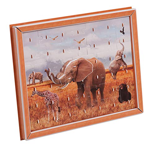 Zilipoo African Savanna Elephant 2D-3D Jigsaw Puzzles with Frame Decoration for Kids Adults 42 Pieces