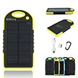 Solar Phone Charger - Borch Solar Portable Phone Battery Charger 5000mah Power Bank and Travel Charger. Utilizing Both Solar And/or Electrical Energy to Fully Charge Wireless Devices on the Go. Shockproof, Dustproof & Rainproof Provides the Freedom to Travel Anywhere with the Borch Solar Power Charger. External Battery Pack Compatible with Iphone 6 5.5 4.7 Inch 5s 5c 5 4s 4, Ipad Air, Other Ipads, Ipods(apple Adapters Not Included), Samsung Galaxy S5, S4, S3, Note 3, Note 4 Galaxy Tab 3, 2, Nexus 4, 5, 7, 10, HTC One, One 2 HTC One M8 ,Motorola Atrix, Droid , Lg Optimus, Most Kinds of Android Smart Phones and Tablets,windows Phone, Gopro Camera and More Other Kindle, Nook, and All Standard USB 5v/1a Devices. (Black/yellow)