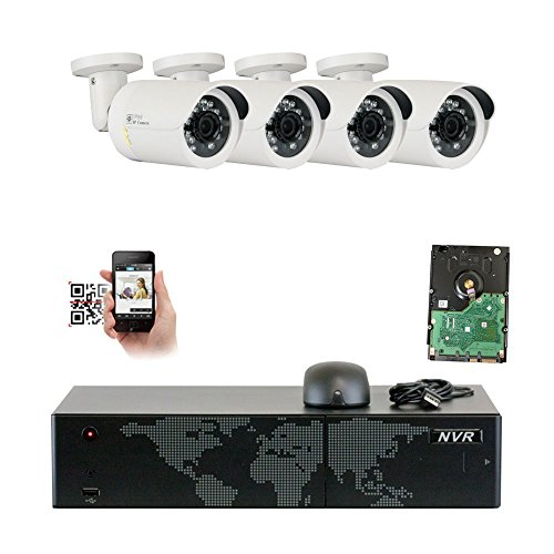 l 5MP NVR 1920P IP Camera Network POE Video Security System - 4 x 5.0 Megapixel (2592 x 1920) Weatherproof Bullet Cameras, Quick QR Code Easy Setup, Pre-Installed 1TB Hard Drive ()