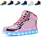 Kids LED Light Up High-top Shoes Rechargeable Hi-Shine Glowing Sneakers for Boys and Girls Child Unisex(pink01,US2/CN34)