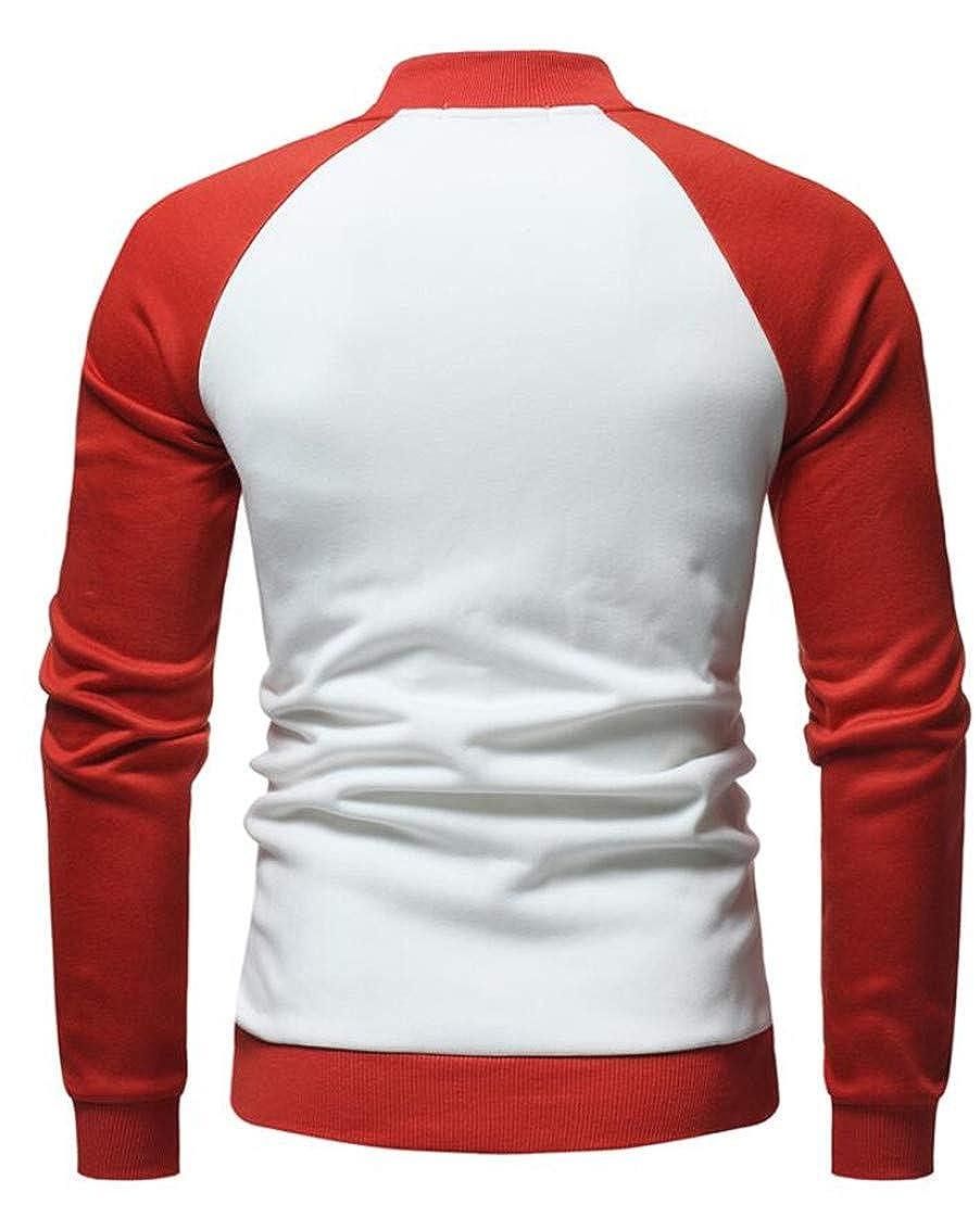 YYear Mens Cotton Stylish Contrast Color Zipper Long Sleeve Sweatshirt Jacket