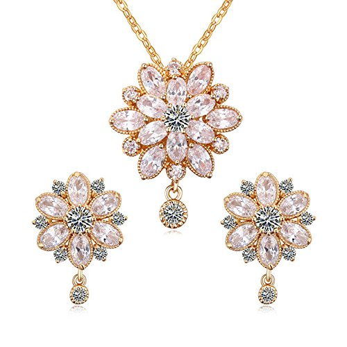 (Women's Swarovski Elements Crystal Flower Pendant Necklace Earrings Wedding Jewelry Sets for Bridesmaids)