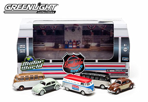 ('60's Roadside Diner Motor World Diorama 2014 Greenlight Collectibles 1:64 Scale Limited Edition Die-Cast 5 Vehicle Set (Includes Volkswagen Panel Van, 2 VW Type 2 Samba Bus & 2 VW Classic Beetle Vehicles))