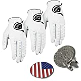 Set of 3 Callaway Golf Glove Men's Dawn Patrol Gloves Leather 2017 Comes with a Set of US Flag Ball Marker with Hat Clip - Pick Size
