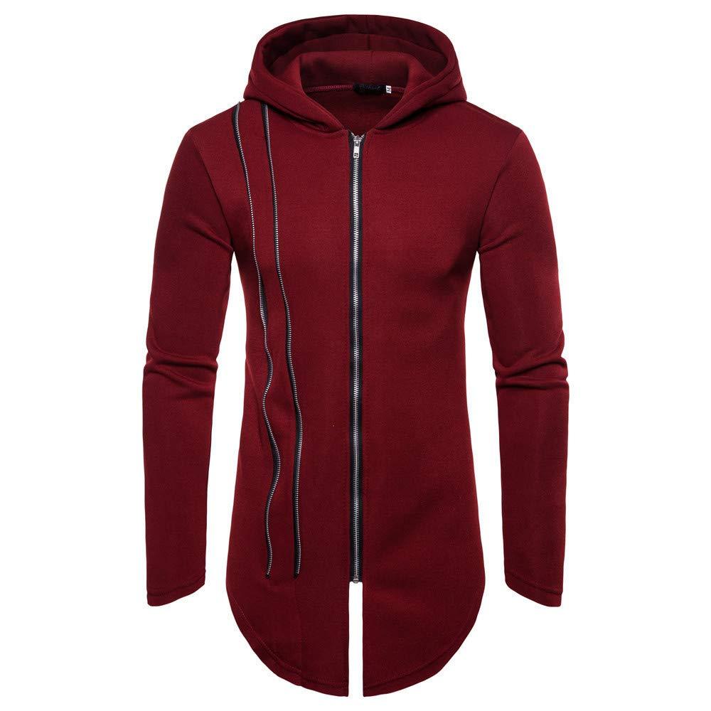 BaZhaHei Mens' Autumn Winter Coat Long Sleeve Zipper Splicing Hoodies Fashion Sweatshirt Mens Tracksuits Patchwork Jacket Casual Hooded Coat Solid Warm Tops