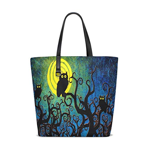 Retro Halloween Owl Forest Tote Bag Purse Handbag for Women Girls -