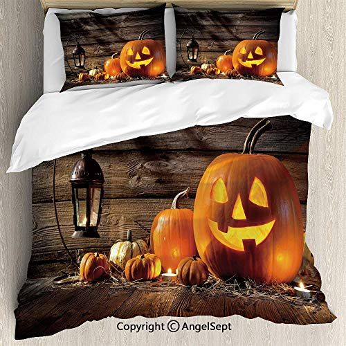 AngelSept Bedding 3-Piece Set,Grinning Expression Pumpkin Country House Squash Bunch on Wooden Planks Image,Full Size,Soft Microfiber Wrinkle Fade,Brown Orange]()