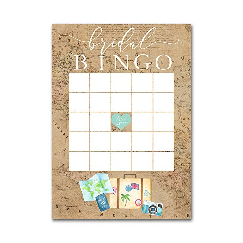 Bingo Game Cards for Bridal Wedding Showers with Watercolor Travel Maps Luggage Camera BBG8044 by Heads Up Girls