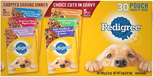 Pedigree Adult Wet Dog Food Chopped Ground Dinner & Choice CUTS in Gravy Food Variety Pack, (30) 3.5 oz. Pouches