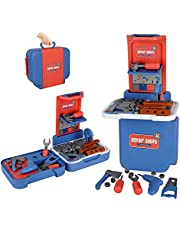 Aomola 43 Pcs Kids Tool Set 3 in 1 Construction Tools Toy,Kids Tool Kit Pretend Play Tool Set,Boys Tool Bench Workshop Blue