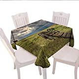 Home-textile-print Barn Wood Wagon Wheel Patterned Tablecloth Old Prairie Cart Agricultural Field Ranch Dramatic Stormy Sky Dust-Proof Oblong Tablecloth 50x50 (inch) Green Brown Grey