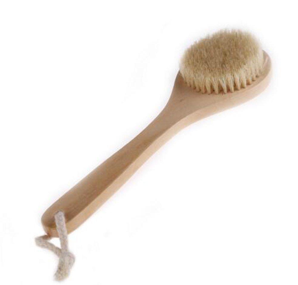Da.Wa Holz Badebürsten Rückenbürste Kardätsche Körper-Peeling Pinsel mit Langem Griff für Trockene Haut Bürsten