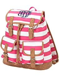 Striped Faux Leather Buckles Drawstring Campus Backpack
