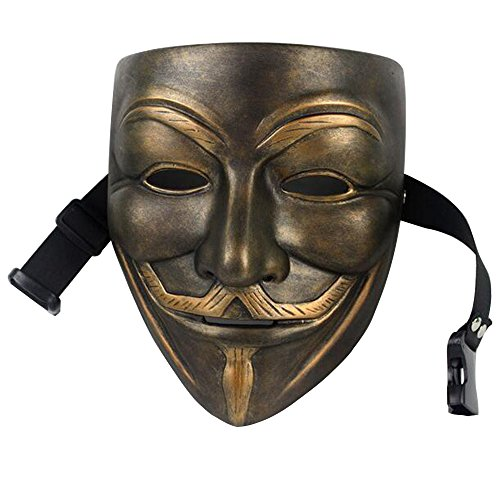 Halloween Costumes Abs (Halloween Cosplay V For Vendetta Guy Fawkes Mask ABS Material Party Accessories Costume (Brown))