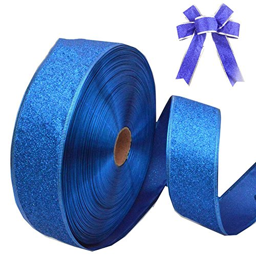 LAAT Wired Edge Glitter Ribbon Christmas Tree Decoration for Christmas Gift Wrapping, Wedding, Party Ornaments-2M (Dark Blue) (Blue Wired Organza Ribbon)