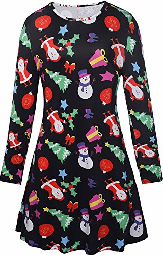 Christmas Snowman Women Gifts Party Wear Bodycon Longsleeve Swing Mid Dress Costumes XL
