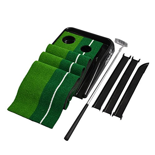 Balight Putting Green Indoor Outdoor Golf Auto Return with 3 Ball and 1 Putter Putting Trainer Mat Dual-Track ProEdge - Extra Long 10.5 Feet Mat - 2 Holes by Balight (Image #6)