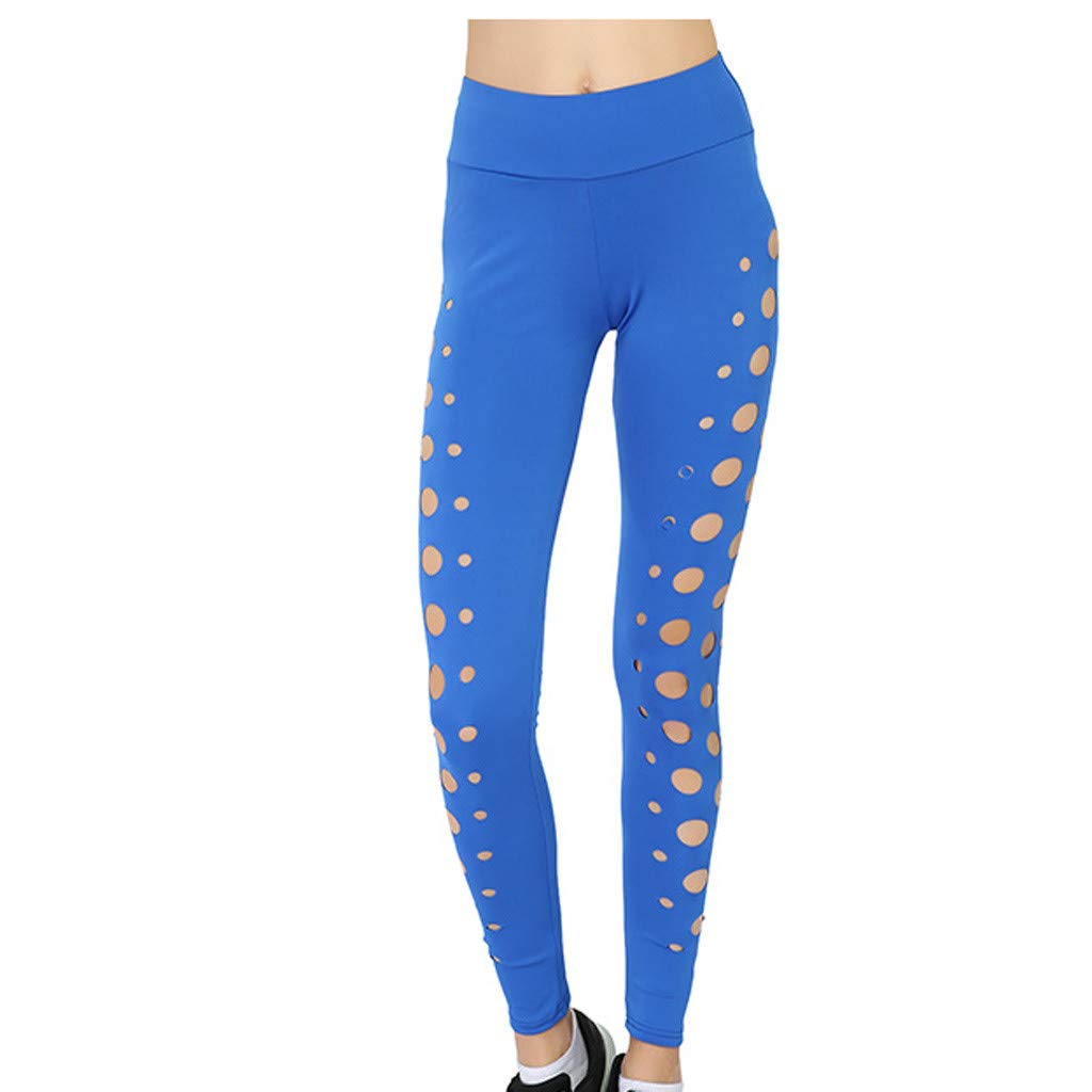 aiNMkm Solid Color Sweatpants,Ladies Sports Sexy Circle Hollow Yoga Pants Bottom Pants Outdoor Fitness Pants,Blue,S