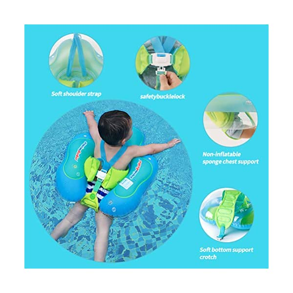 Swimbobo Blue, XL New Upgraded Baby Swimming Float Kids Inflatable Swim Ring with Safety Support Bottom Swimming Pool Accessories for 3-36 Months