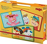 HABA Creature Creations Magnetic Game Box - 51 Hilarious Magnetic Pieces with 3 Backgrounds in Cardboard Carrying Case