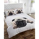 Pug Dog Quilt Duvet Cover and Pillowcase Bedding Set, White, Single by Pug