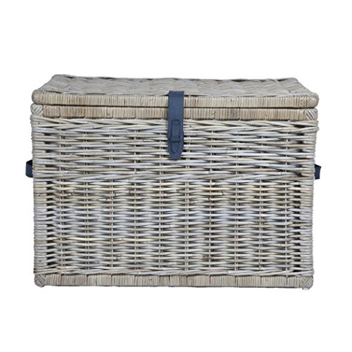 The Basket Lady Deep Wicker Storage Trunk | Wicker Storage Chest, XL, Serene Grey by The Basket Lady