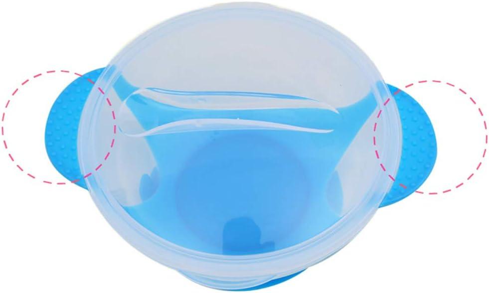 KEKEDA Juego de Cuencos con Ventosa para beb/és con alimentador de Alimentos Frescos y Cuenco de Entrenamiento con Cuchara 13 * 2.5cm Amarillo