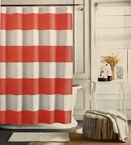 Cabana Stripe Shower Curtain (Tommy Hilfiger Cabana Stripe Fabric Shower Curtain (Coral and White Stripe) 72