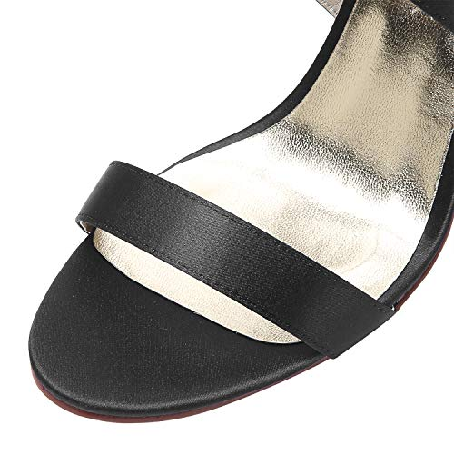 Boucle Femmes Strap Mariage De Elegantpark Sandales À Cross Noce Hauts Chaussures Ouvert Stiletto Hp1818 Talons Bout Satin Noir PRWRfBqSxw