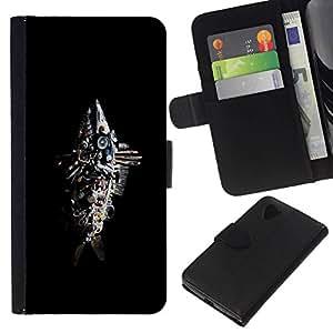 // PHONE CASE GIFT // Moda Estuche Funda de Cuero Billetera Tarjeta de crédito dinero bolsa Cubierta de proteccion Caso LG Nexus 5 D820 D821 / Abstract Junk Fish Sculpture /