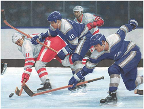 Prepasted Wallpaper Border - Hockey Players on The Move Sports Wall Border Retro Design, Roll 15 ft. x 10 ()
