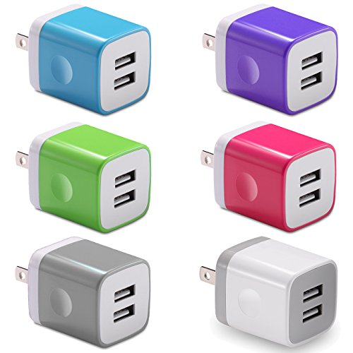 USB Wall Charger, BEST4ONE 6-Pack Colors 2.1A/5V Dual Port USB Wall Plug Charging Block Cube for iPhone XS/MAX / XR/X 8/7/6S Plus, Samsung, LG, Moto, Android Phone