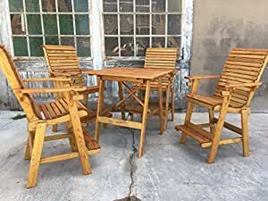 Birch Grove Outdoor Wood Bar Height Table and 4 Chairs Set