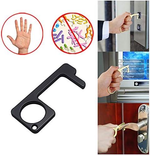 ハンドヘルド非接触ドアオープナー、非接触EDCドアオープナークローザー、屋外の公共ドアハンドルのタッチツールボタンのキーツール、持ち運びが簡単、手を清潔に保つ[マルチスタイル],#4