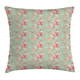 Ambesonne Shabby Chic Throw Pillow Cushion Cover, Retro Spring Blossom Flowers with French Garden Florets Garland Artisan Image, Decorative Square Accent Pillow Case, 16 X 16 Inches, Mint Pink