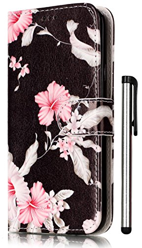Azalea Pattern - Galaxy S5 Case, S5 Case Wallet PU Leather Magnetic Flip Cover 2 Credit Card Slots Holders with Desk Stand For Samsung Galaxy S 5 SV / S5 Neo + Stylus - Fashion Black Azalea Pattern